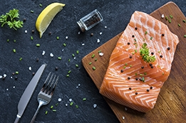 Foods like this salmon are known to support healthy eyes and healthy vision
